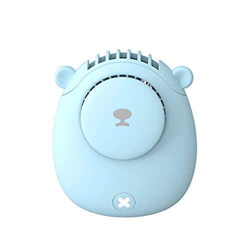 GYAM Mini Ventilador portátil de Dibujos Animados de Bolsillo pequeño Ventilador de Cuello Colgante de Mano Ventilador de Carga USB,Azul