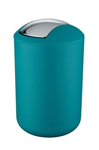 WENKO Schwingdeckeleimer Brasil Petrol L - Kosmetikeimer, absolut bruchsicher Fassungsvermögen: 6.5 l, Kunststoff (TPE), 19.5 x 31 x 19.5 cm, Petrol