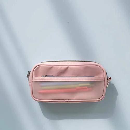 ケプトペンケース 半透明ペンケース ジップイットバッグ 大容量 ペンポーチ 化粧ポーチ 多機能 シンプル 簡易 塩の女の子 SAKUSHO おしゃれ 韓国 人気 可愛い 女性 女の子 ガールズ 小学生 男の子 ins映え 3色 (淡いピンク)