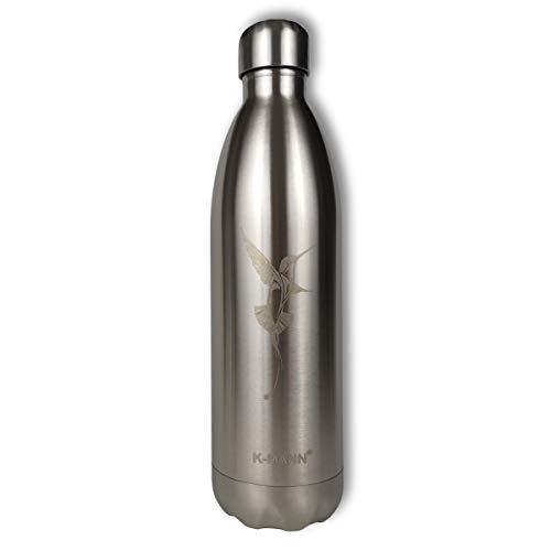 K-MANN ® – Botella isotérmica de 750 ml de acero inoxidable – Metal grabado dibujo diseño de pájaro – Marca francesa – Camping, trabajo (Bird 750 ml)