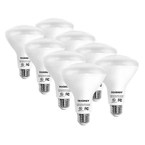 Tenergy Dimmable LED Flood Light Bulbs, 60 Watt Equivalent (8W), Warm White Soft White (2700K), BR30 E26 Medium Standard Base Recessed Light Bulbs for Can Ceiling Light, UL Listed (Pack of 8)