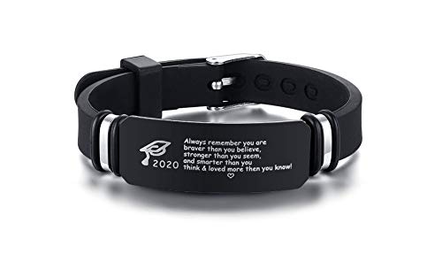 PJ JEWELLERY Abschlussgeschenk für Sohn Always Remember You Are Braver Than You Believe Stronger Than You Seem Smarter Than You Think Inspirational Quote Bracelet für 2020 Graduate