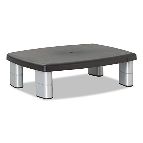 3M Adjustable Height Monitor Stand, 15 x 12 x 5-7/8, Black/Silver (MS80B)