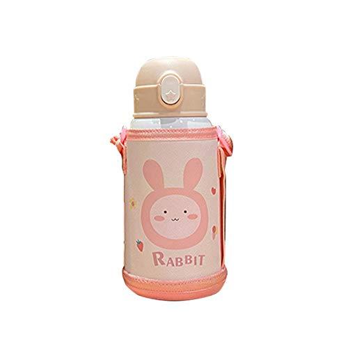 Amusingtao Botella de agua de viaje con pajita de acero inoxidable térmica aislada al vacío portátil al aire libre a prueba de fugas escuela niños doble pared lindo animal (rosa claro)