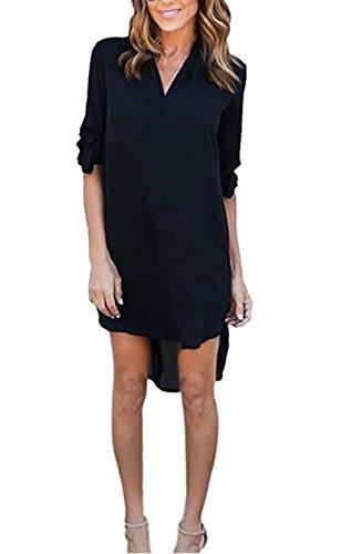 ASSKDAN Mini Hemdkleid Chiffon Lange Ärmel V Ausschnitt Casual Blusenkleid Minikleid - Herbst 2031,42/XL,Blau