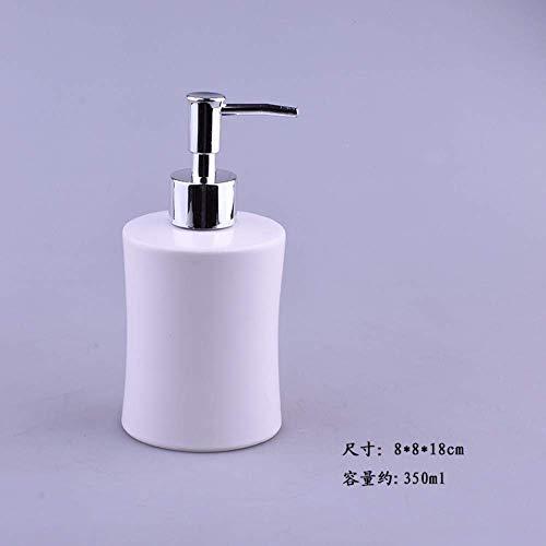 ZLXLX Lotion Zeepdispenser, witte keramiek kunst mini cilinder handgemaakt vintage Oosterse retro origineel ontwerp snelle extrusie navulbare shampoo vloeibare handdesinfectie met