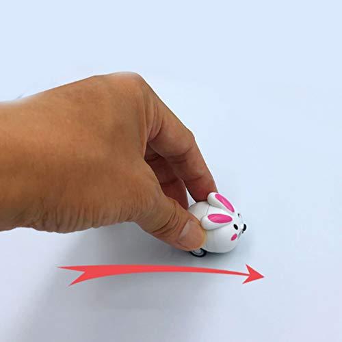Toyvian 12 Stücke Push and Go Spielzeugautos Zurückziehen Fahrzeuge Spielzeug Kaninchen Geformt für Kinder Kinder (Gemischtes Muster)