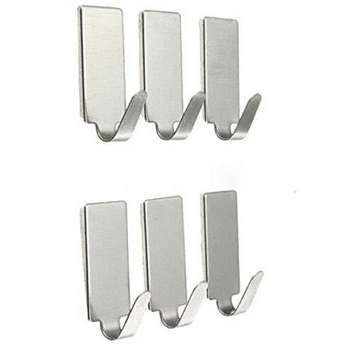 6 ganchos de acero inoxidable para colgar en la pared, puerta o ropa, toallero, bolso de mano, gancho de pared (color: cuadrado)