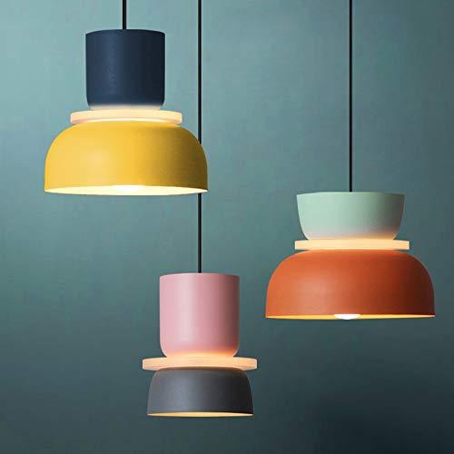 DKee Lámpara de araña de 5 W color macarons creativa barra de restaurante lámpara LED luz cálida nórdica moderna minimalista comedor dormitorio salón hierro artesanía (color: A)