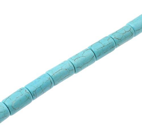 Perlin - Türkis Edelstein Perlen Naturstein Gemstone Beads 16mm Zylinder Blau Halbedelstein Edelsteine Strang Schmuckperlen Schmuckstein für DIY Kette Basteln G210