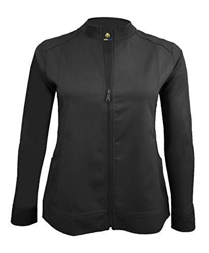 Natural Uniforms Women's Ultra Soft Stretch Front Zip Workwear Warm-Up Jacket (Black, Medium)