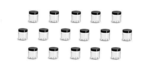 QTY 30-2 Oz Transparent Plastic Container Black Lid (2 oz)