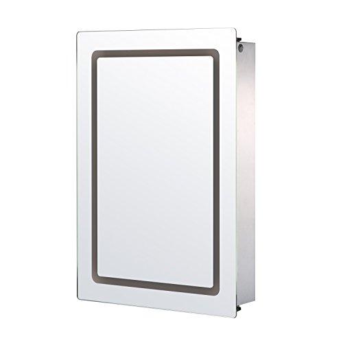 Homcom Miroir Lumineux LED Armoire Murale Design de Salle de Bain 2 en 1 Acier Inoxydable 53L x 13l x 76H cm