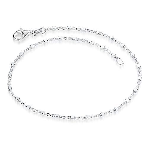 MATERIA feine Armkette Damen Silber 925 - Würfel Kette filigran mit Karabinerverschluss in 18cm in Etui sa-119-18