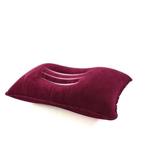 WEARRR Almohada Inflable portátil Cojín de Aire Air Cushion de Doble Cara Cojín Cojín Campamento Playa Avión de Coches Encendido Reposar Dormitorio Cama (Color : Red)