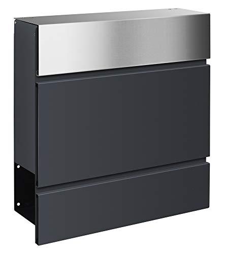 Frabox® Design Briefkasten LENS Edelstahl/anthrazitgrau RAL 7016 mit Zeitungsfach