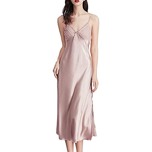 Sholeno Women's Satin Nightshirts Sexy V Neck Nightdress Spaghetti Strap Chemise Slip Long Negligee Pink XX-Large