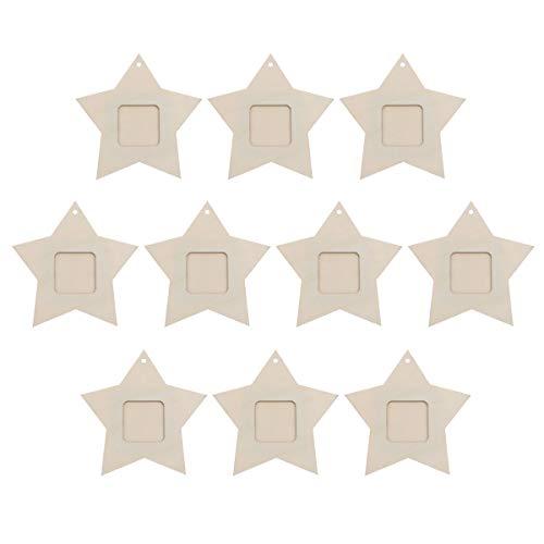 Supvox Holz Mini fünfzackigen Stern Form Bilderrahmen Hängen Anhänger für Zuhause 10 Stücke