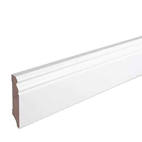 Sockelleiste Massiv Holz Buche weiß lackiert Hamburger Berliner Profil 80mm