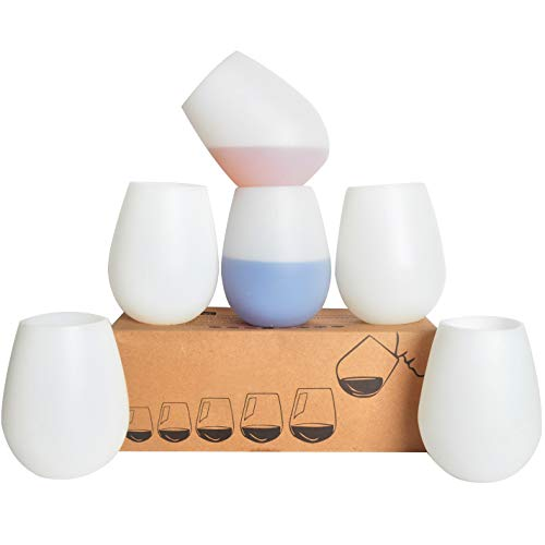KindGa Silicone Wine Glasses Set of 6 Unbreakable Stemless Outdoor Rubber White Wine Cups,100%...