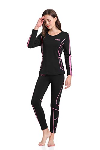 devembr Ropa Interior Térmica Conjunto para Mujer, Ropa Térmica Deportiva Camisetas Invierno para Montaña Ski Bicicleta Ciclismo Fitness S