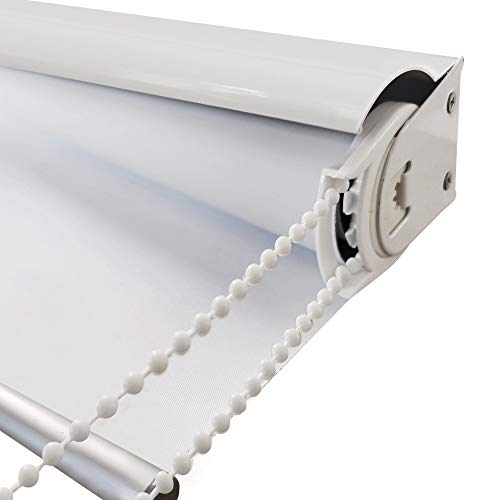 ZY Blinds Blackout Window Blinds, White Metal Valance, White UV Protection Custom Made Cord Loop Roller Shades for Windows, Home, Hotel, Club, Restaurant, French Door, Sliding Door