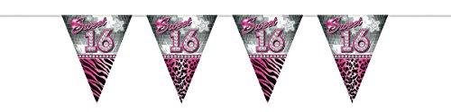 Folat Sweet 16. Party Dekorationen 10Meter Wimpelkette Flaggen