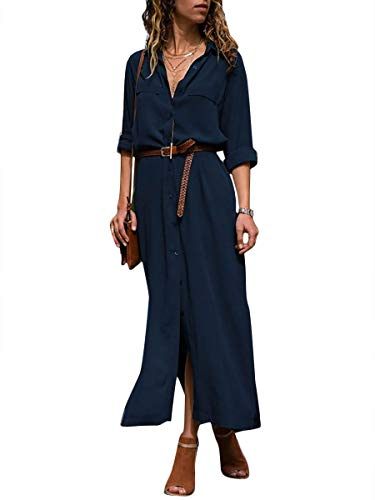 Minetom Damen Langarm Blusenkleid V-Ausschnitt Elegant Lang Hemdkleid Strandkleid Shirt Kleid Oberteil Kleid Maxikleid Tiefes Blau Large