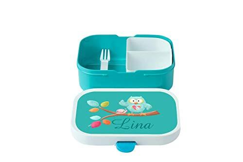 wolga-kreativ Brotdose Eule am AST mit Namen Rosti Mepal türkis Obsteinsatz für Mädchen Lunchbox Bento Box personalisiert Brotbüchse Brotdosen Kindergarten Schule