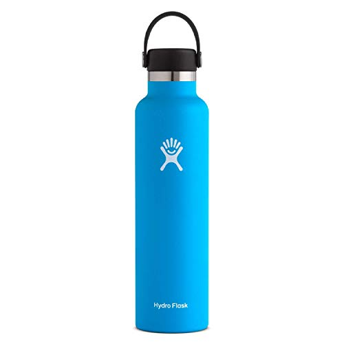 Hydro Flask Gourde isotherme 709 ml (24 oz) en acier inoxydable avec isolation sous vide et bouchon Flex Cap étanche, goulot standard, Pacific