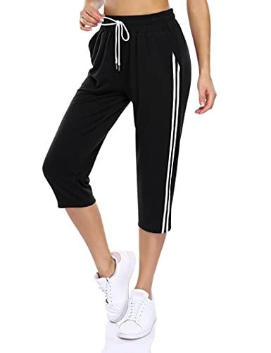 KOJOOIN Damen Sporthosen 3/4 Jogginghose Baumwolle Freizeithose Loose Fit Trainingshose mit Taschen und Kordelzug, für Jogging Laufen Fitness Hohe Taile Sweathose B-Schwarz XL