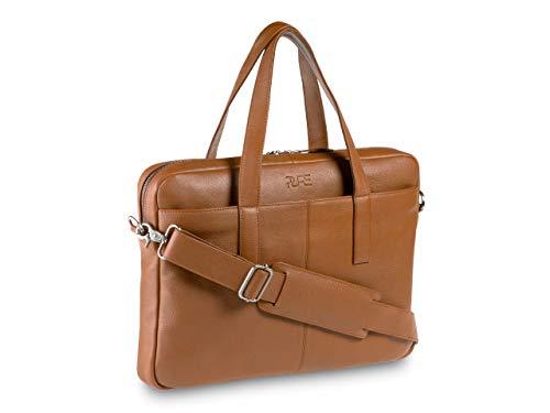 Maletín para portátil Capella - Bolsa de Ordenador de Piel auténtica 15 Pulgadas I Bandolera de Cuero para Hombre y Mujer marrón
