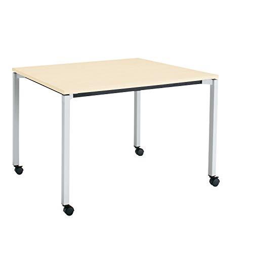 コクヨ ミーティングテーブル JUTO MT-JTK129S81M10-CN 角形天板 4本脚 角脚 スクエアコーナー 幅120×奥行90cm 天板ホワイトナチュラル/脚フラットシルバー キャスター付