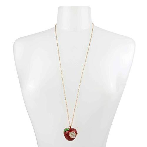 Betsey Johnson Apple Pendant Long Necklace