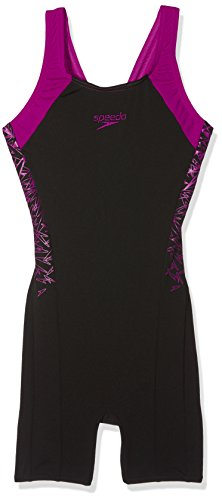 Speedo Damen Boom Splice Legsuit Swimsuit, Black/Diva, 34