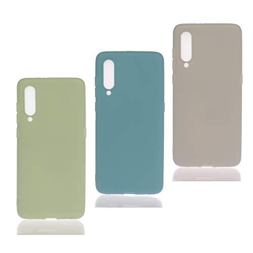HopMore 3 Pack pour Coque Xiaomi Mi A3 Lite / CC9 Silicone Souple Étui Motif Couleur Etui Xiaomi A3 Lite Mince Antichoc TPU Case Housse Fine pour Femmes Fille Hommes - Vert Turquoise Kaki