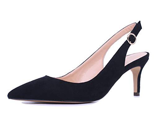 CASTAMERE Zapatos de Tacón Mujer Medio Sandalias Mini Tacón de Aguja 6.5CM Negro Ante Zapatos EU 41