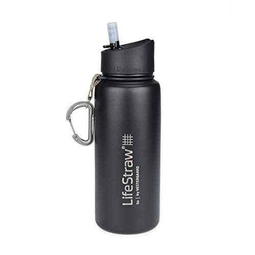LifeStraw Go Stainless Steel Water Filter Bottle with 2-Stage...