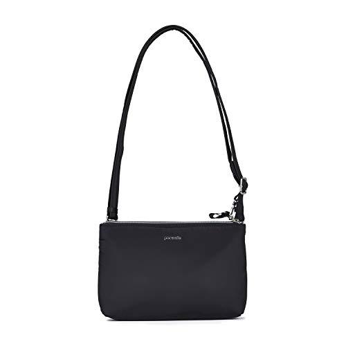 Pacsafe Stylesafe Double Zip Crossbody, Umhängetasche mit Doppelreißverschluss, Damen Handtasche mit mit Diebstahlschutz, Schwarz / Black