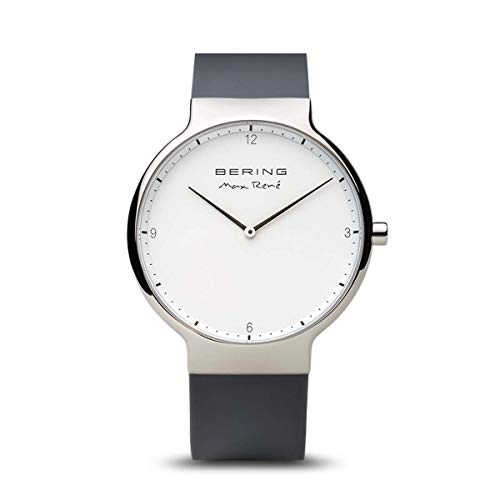BERING Herren Analog Quarz Max René Collection Armbanduhr mit Silikon Armband und Saphirglas 15540-400