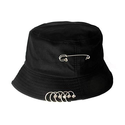 DHDHWL Gorros de Pescador 2020 Femenino de Moda Sombrero Pescador Sombrero aro Pin Cuenca Sombrero Verano Harajuku Sombrero de Sol Plegable Sombrero de Sol (Color : Negro)