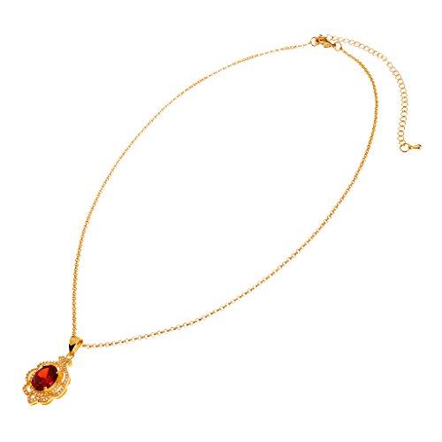 Sharplace Collar Diamante Falso Adorno para Novia Granate para Nupica Joyería de Moda Estilo Broche - Dorado