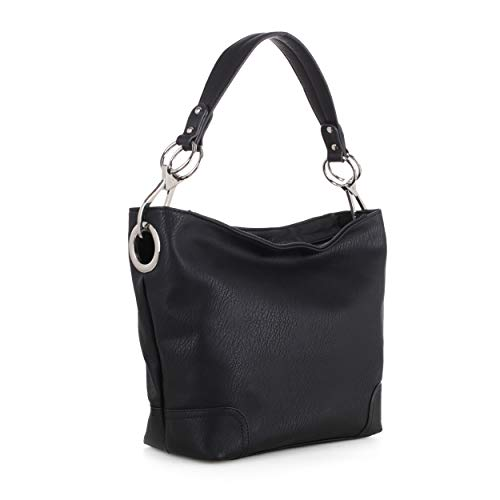 Lydia Concealed Carry Lock and Key Hobo Handbag (Black)
