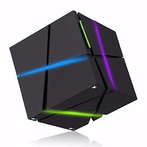 qiyan , Tragbare HiFi Bluetooth Lautsprecher Led Cube Altavoz Stereo Lautsprecher Super Bass Caixa De Som Resonanzkörper Freisprecheinrichtung Für tragbare Telefon-Lautsprecher Schwarzer Lautsprecher