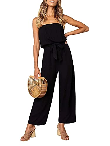 ZESICA Women's Casual Off Shoulder Solid Color Strapless Belted Wide Leg Jumpsuit Romper Black