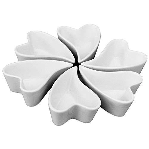 Invero® 6pezzo singolo dal design chic a forma di cuore in porcellana da tavola snack servire antipasti piatto–ideale per olive, noci, patatine, salse e più (23x 23x 4cm combinato)