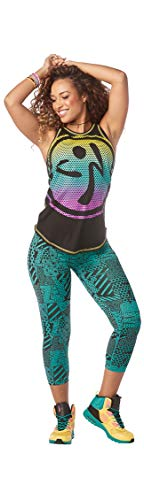 Zumba Activewear Fitness Training High Neck Tank Top Graphic Dance Sportbekleidung Damen, BB Black, M