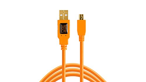 Tether Tools TetherPro Kabel, USB 2.0 A auf MiniB 5 Pin, USB-Kabel, 4,6 m, orange [cu5451]