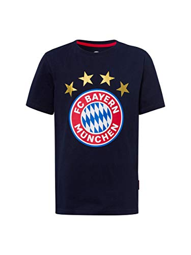 FC Bayern München T-Shirt Logo Navy Kids/Fanshirt mit großem FCB-Emblem / 164