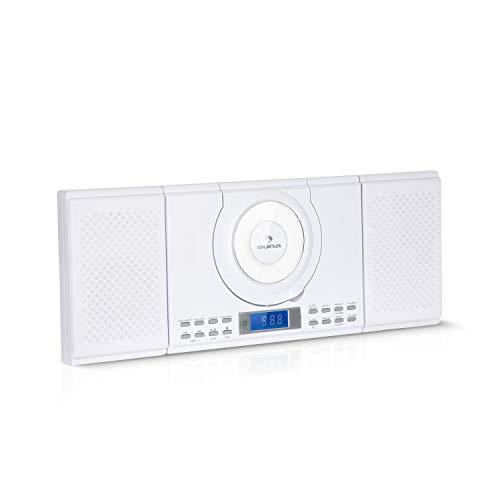 auna Wallie Microsystem - Equipo estéreo , Microcadena , 2 Altavoces de 10 W de Potencia Media , Reproductor de CD , Radio FM , Bluetooth , Puerto USB , Pantalla LCD , Mando a Distancia , Blanco